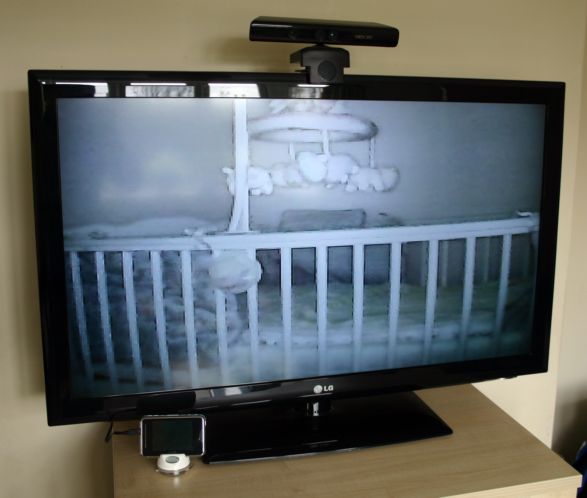The unit plugged into the Television.