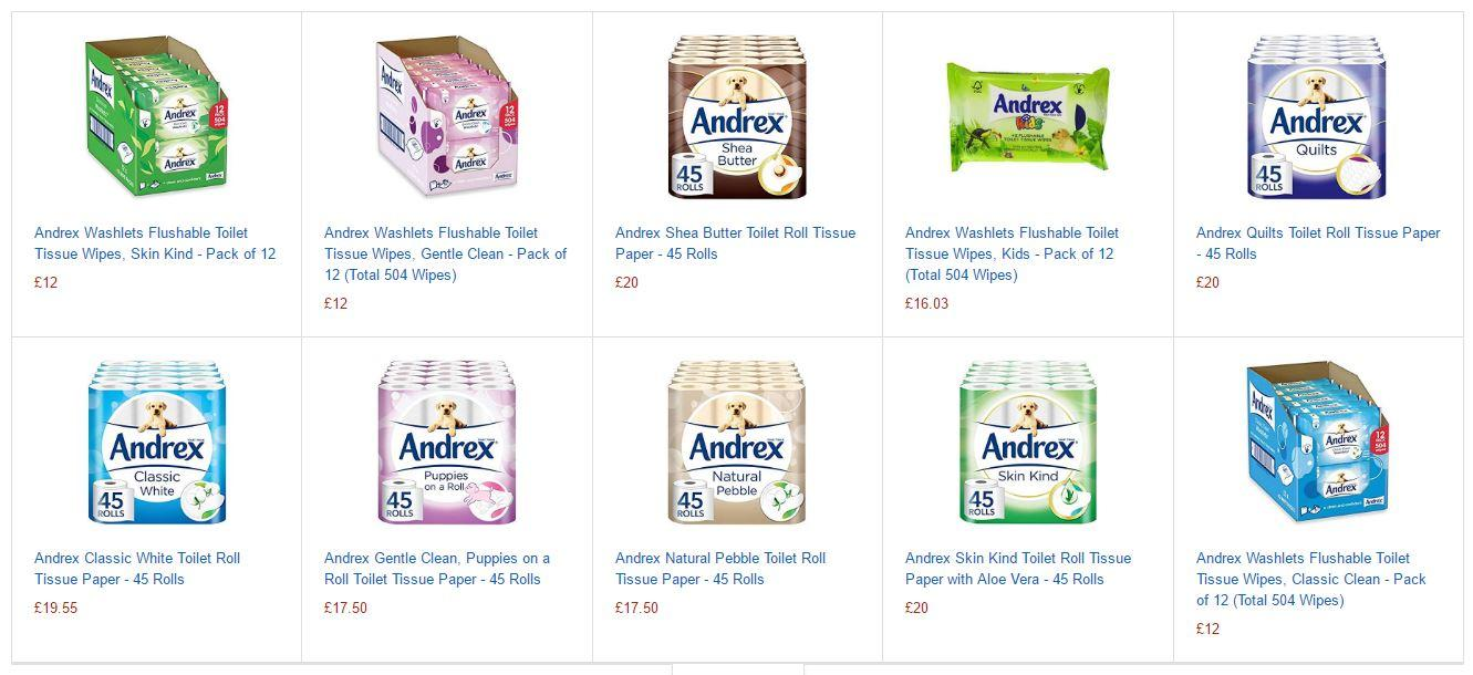 The products available through the Andrex Amazon Dash Button