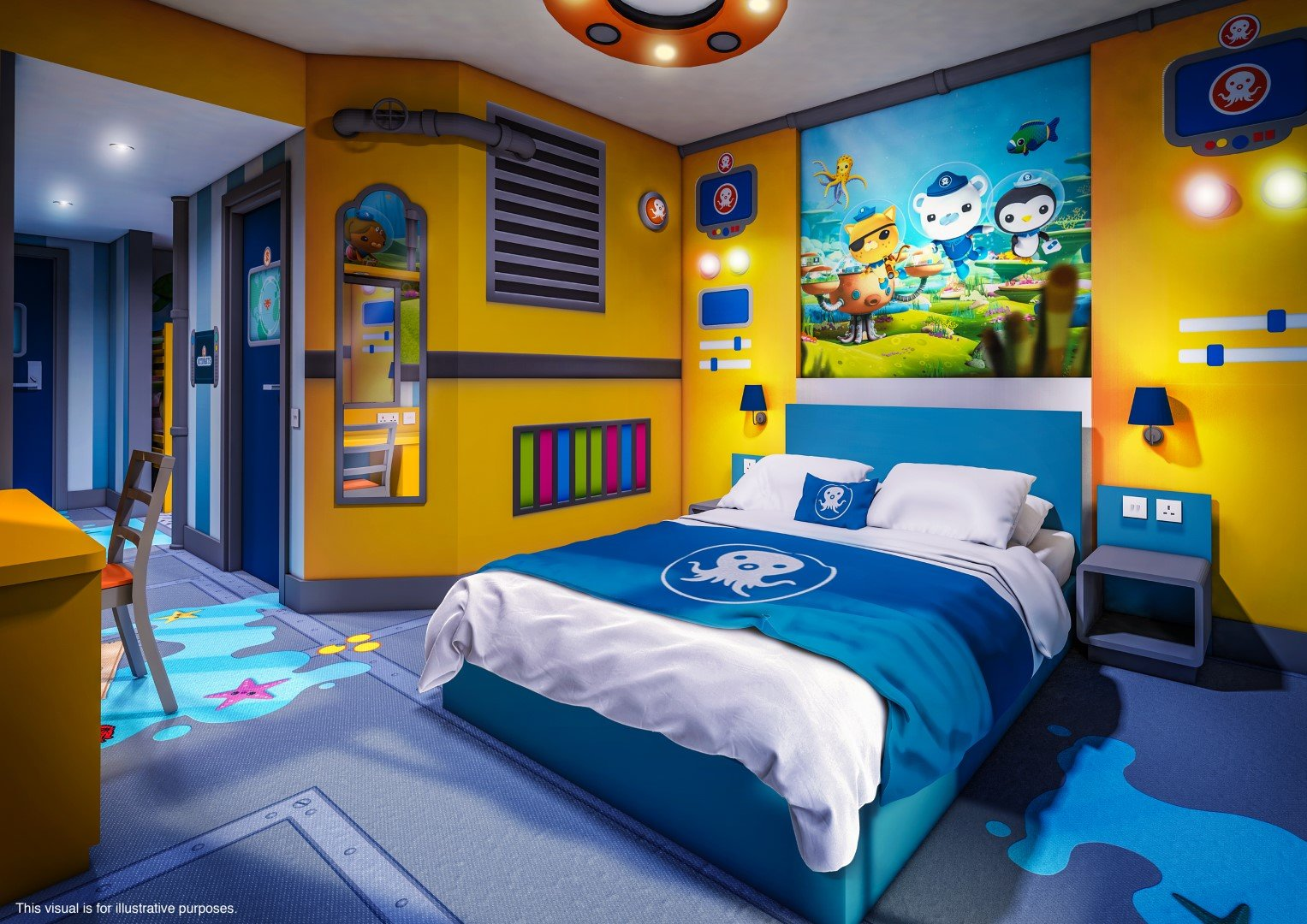 Go underwater at the CBeebies Land Hotel in the Octonauts Room