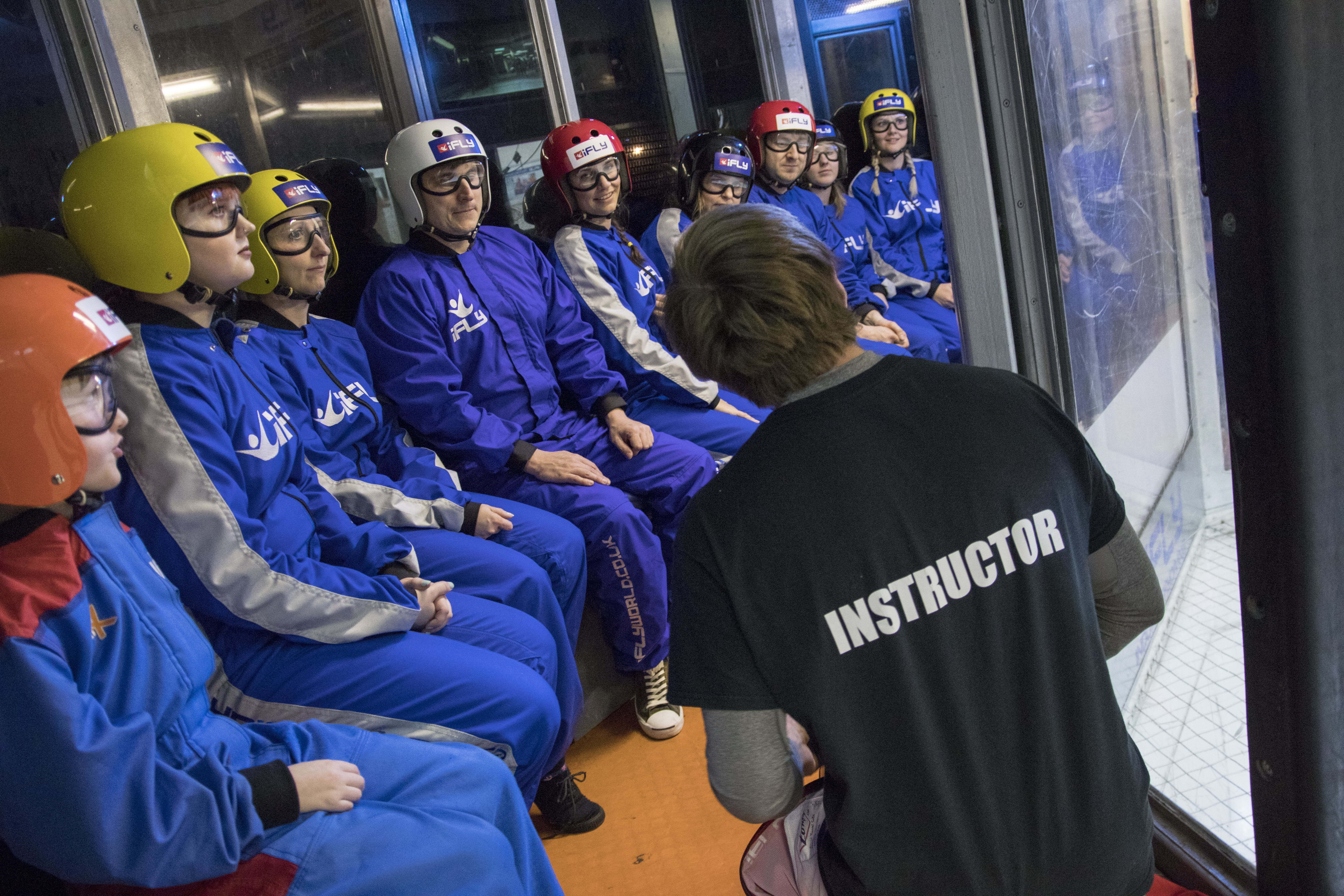 A final briefing outside the wind tunnel before we start Indoor Skydiving
