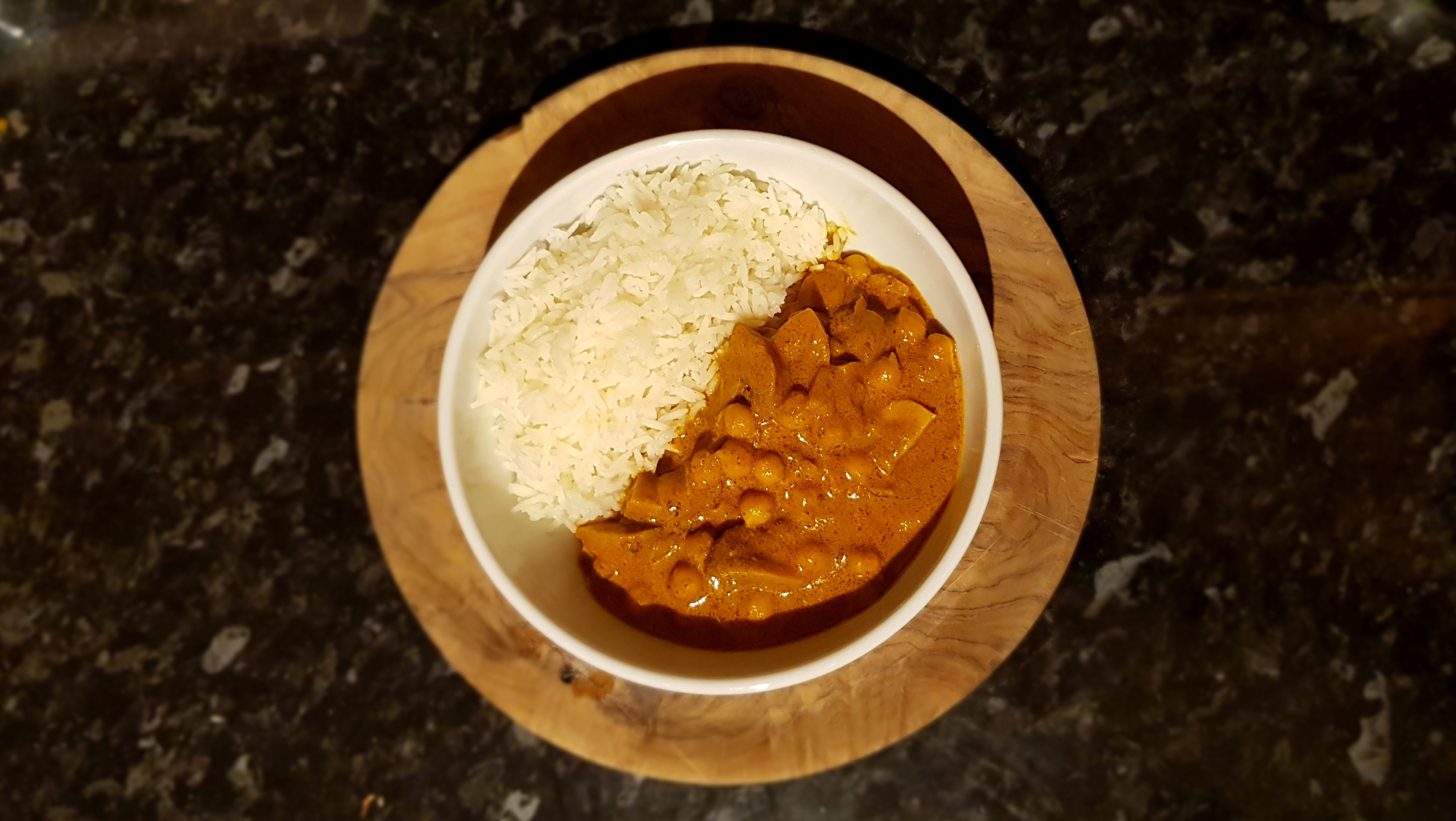 The finished Chickpea and Mushroom Tikka Masala