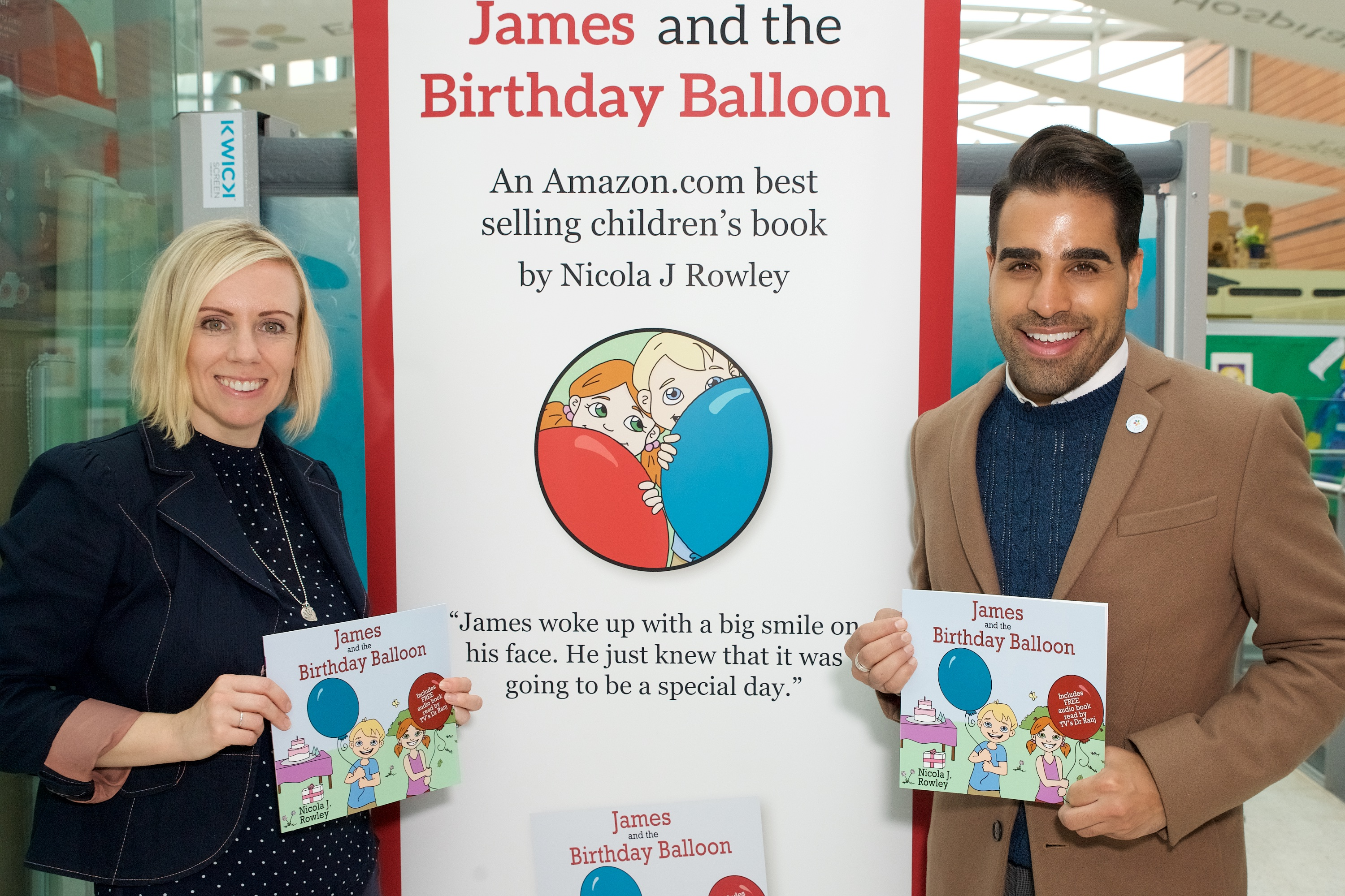 Nicola Rowley and Dr Ranj at the James and the Birthday Balloon launch.