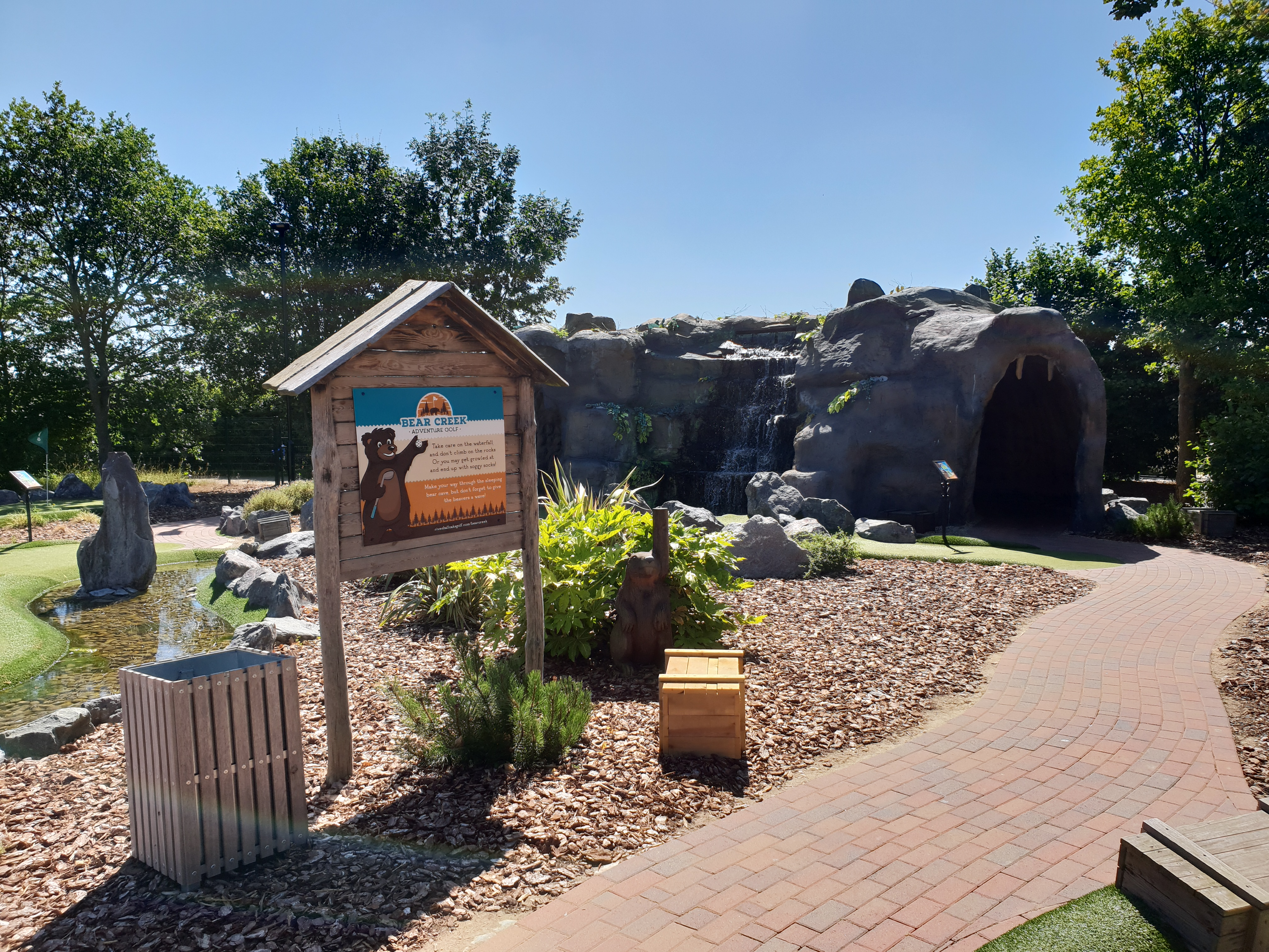 The bear shaped cave at Bear Creek Adventure Golf