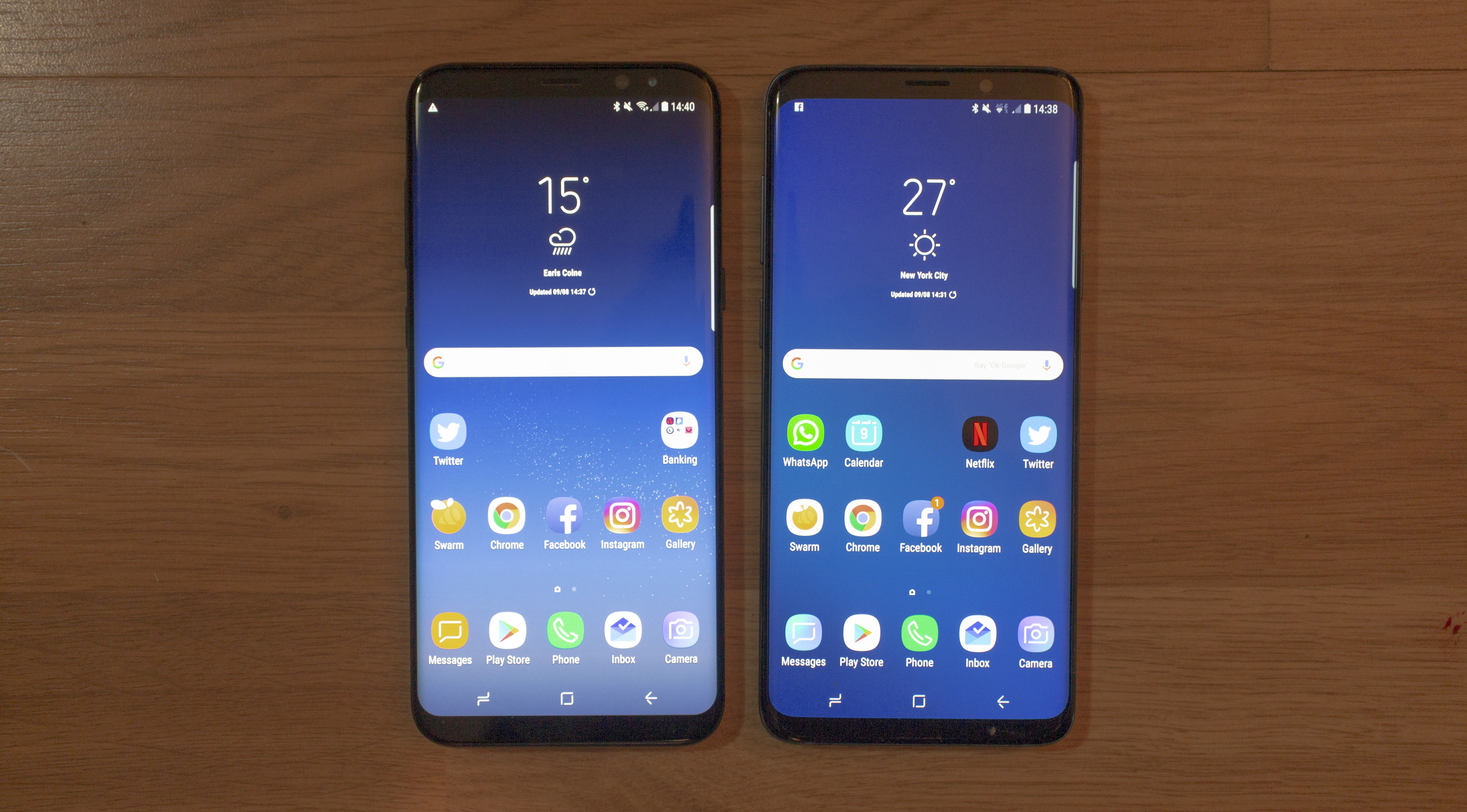 Side by Side - There isn't much between the S8+ (left) and S9+ (right)