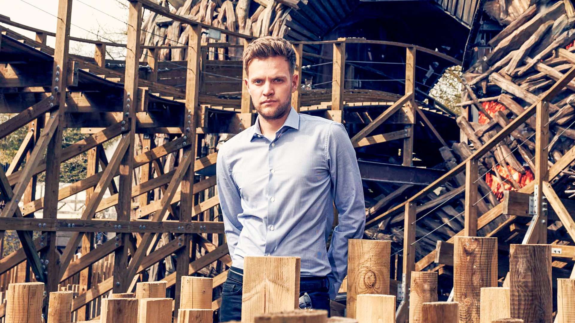 Max Mayer with the Wicker Man - Inside Alton Towers - Image by Channel 4.