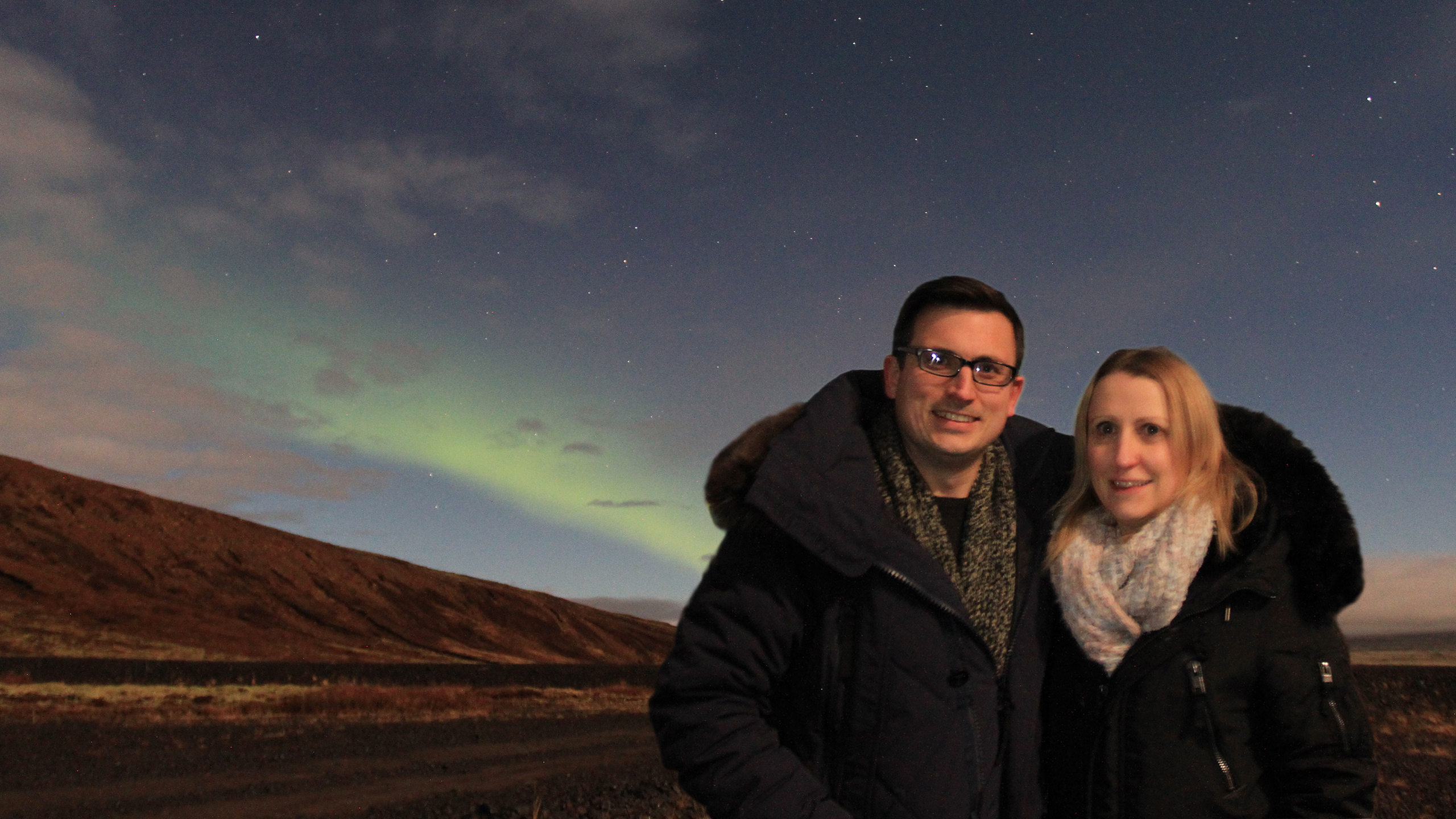 Me and Mrs Hakes in front of the Northern Lights in Iceland
