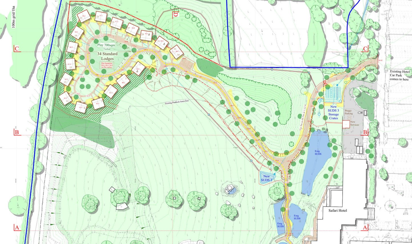 34 Lodges will be arriving at the perimeter at Chessington in 2019 / 2020