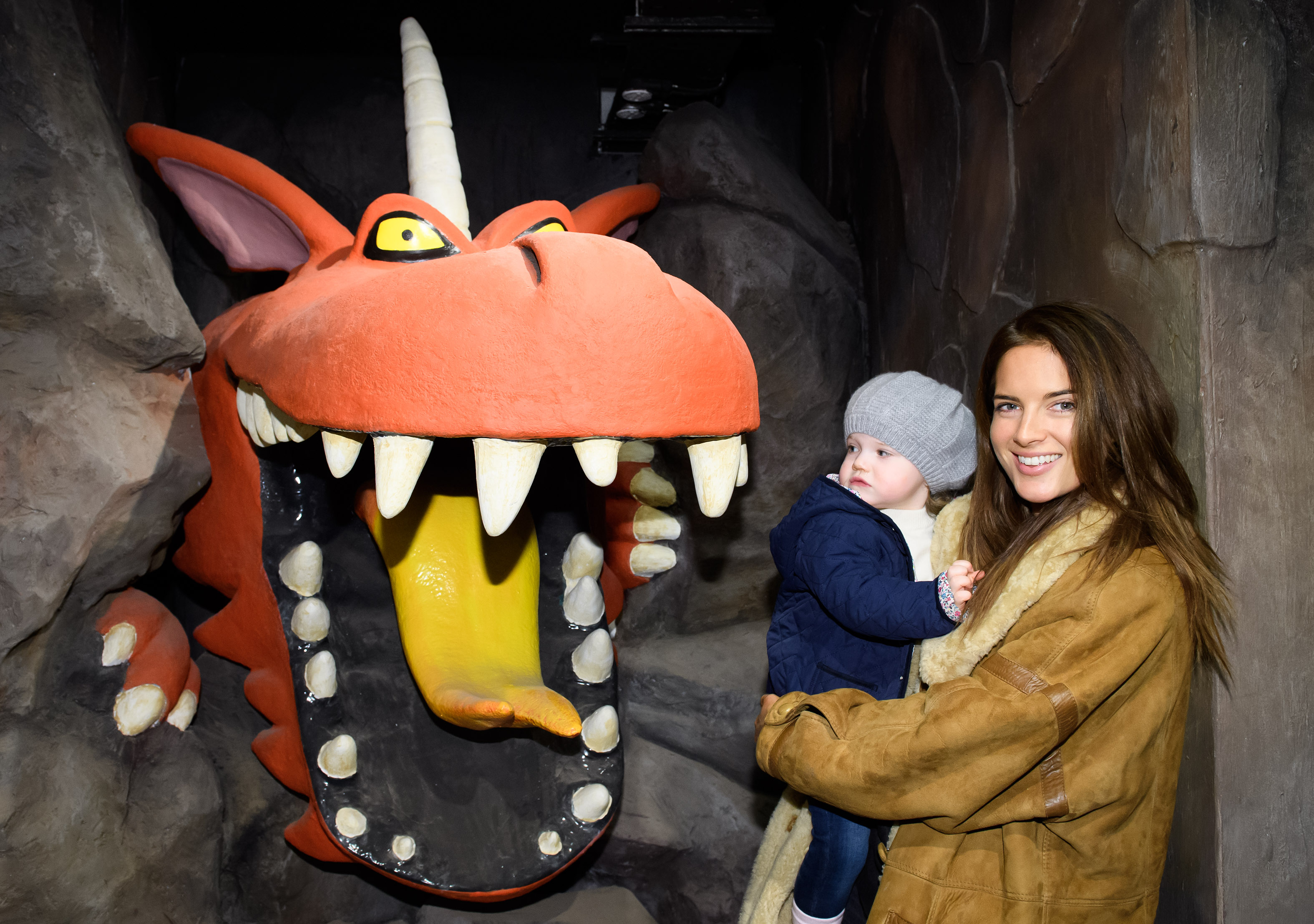 Binky Felsted and daughter India meet the Dragon Inside Room on the Broom - A Magical Journey - Image from INHOUSE IMAGES