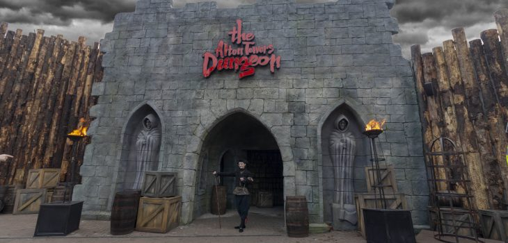 The menacing exterior of the Alton Towers Dungeon