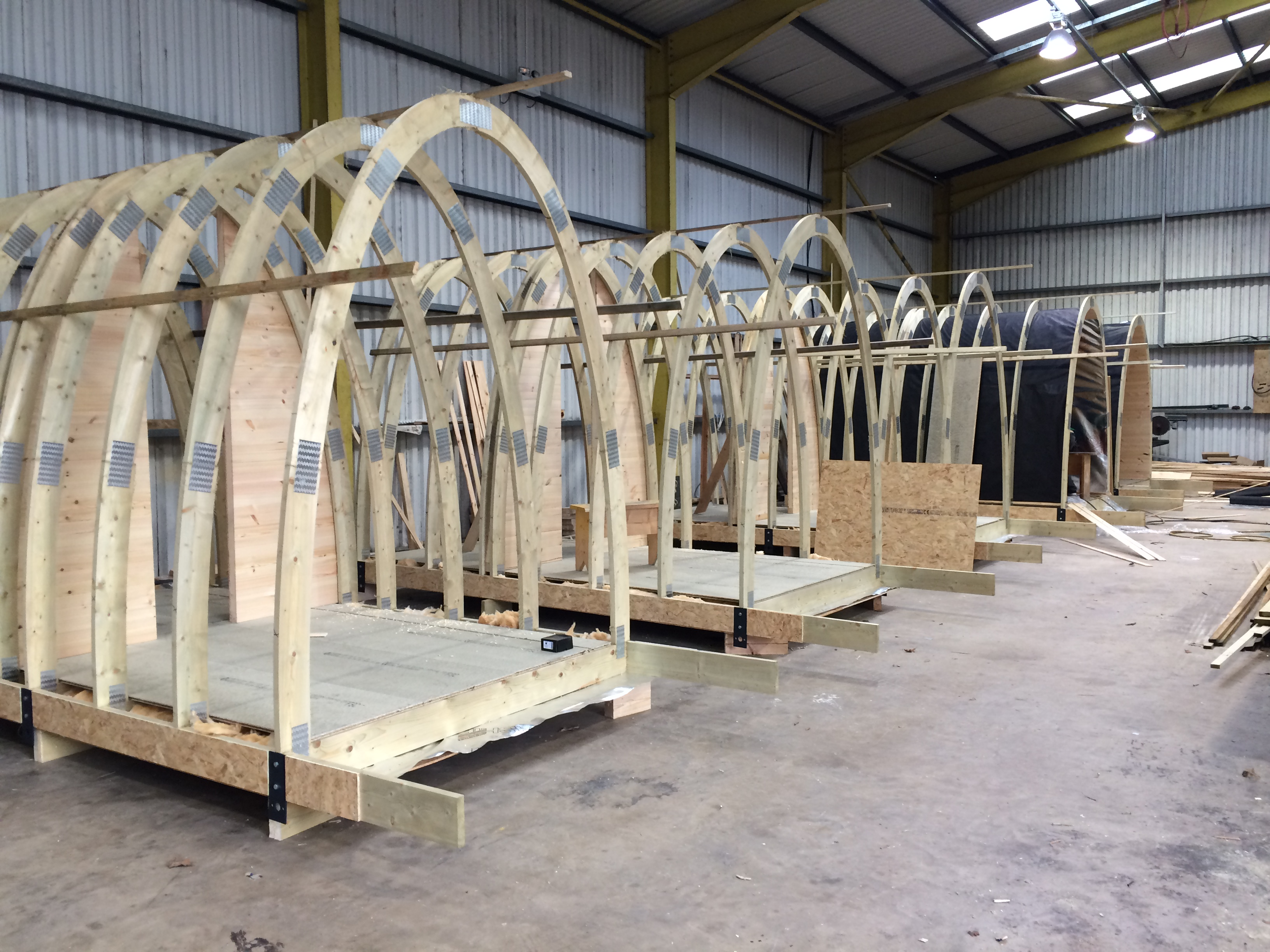 The Alton Towers Stargazing Pods under construction in the Factory
